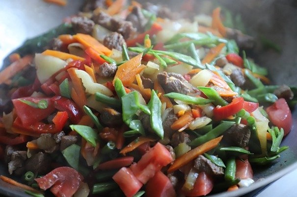 Colorful and balanced traditional Chinese dish